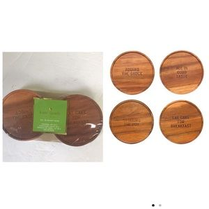 Kate Spade NEW Wooden Coasters set of 4 Sayings Sealed eat Cake Fun Brown Gift
